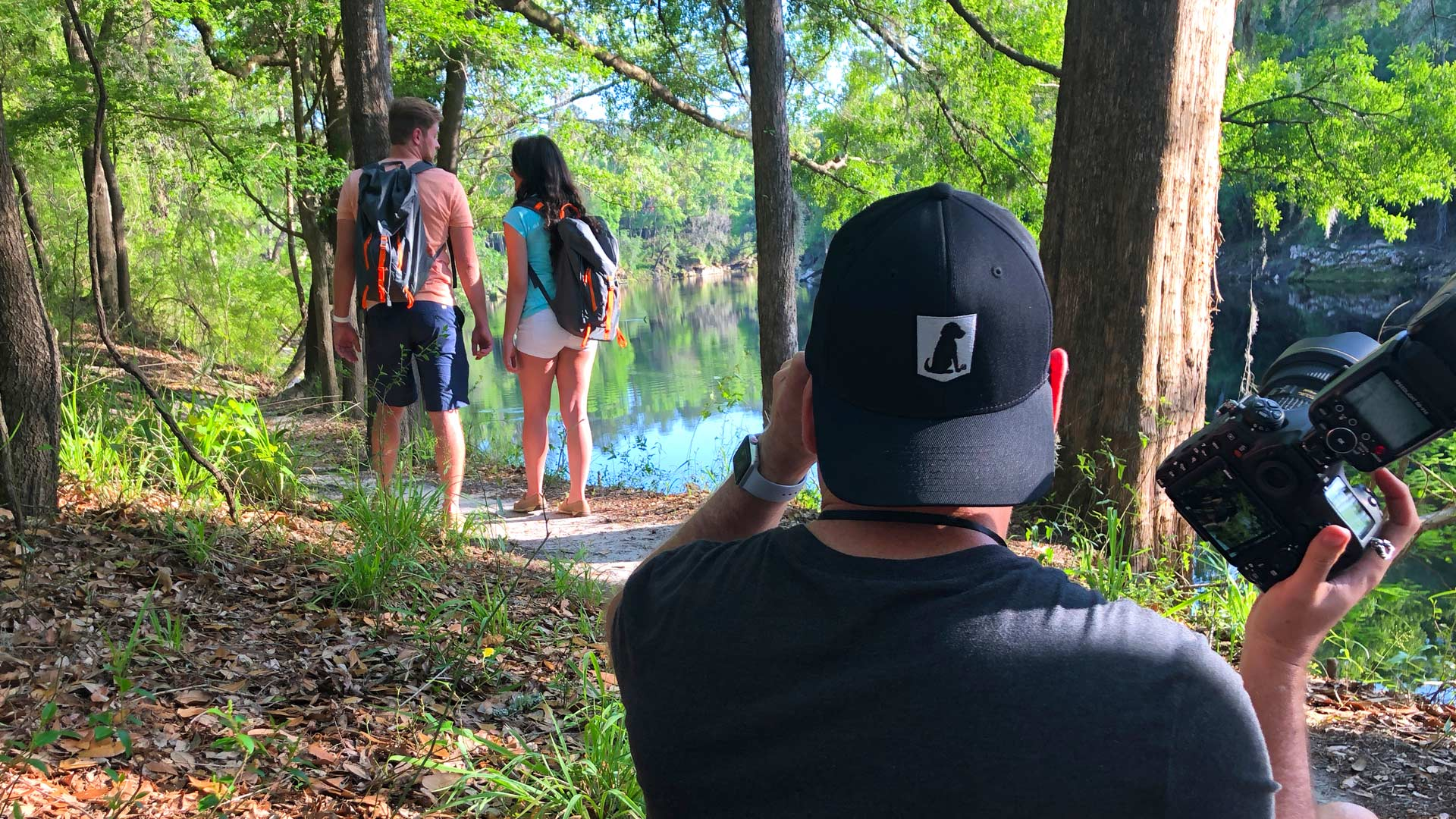 Couple hiking for the Suwannee video shoot