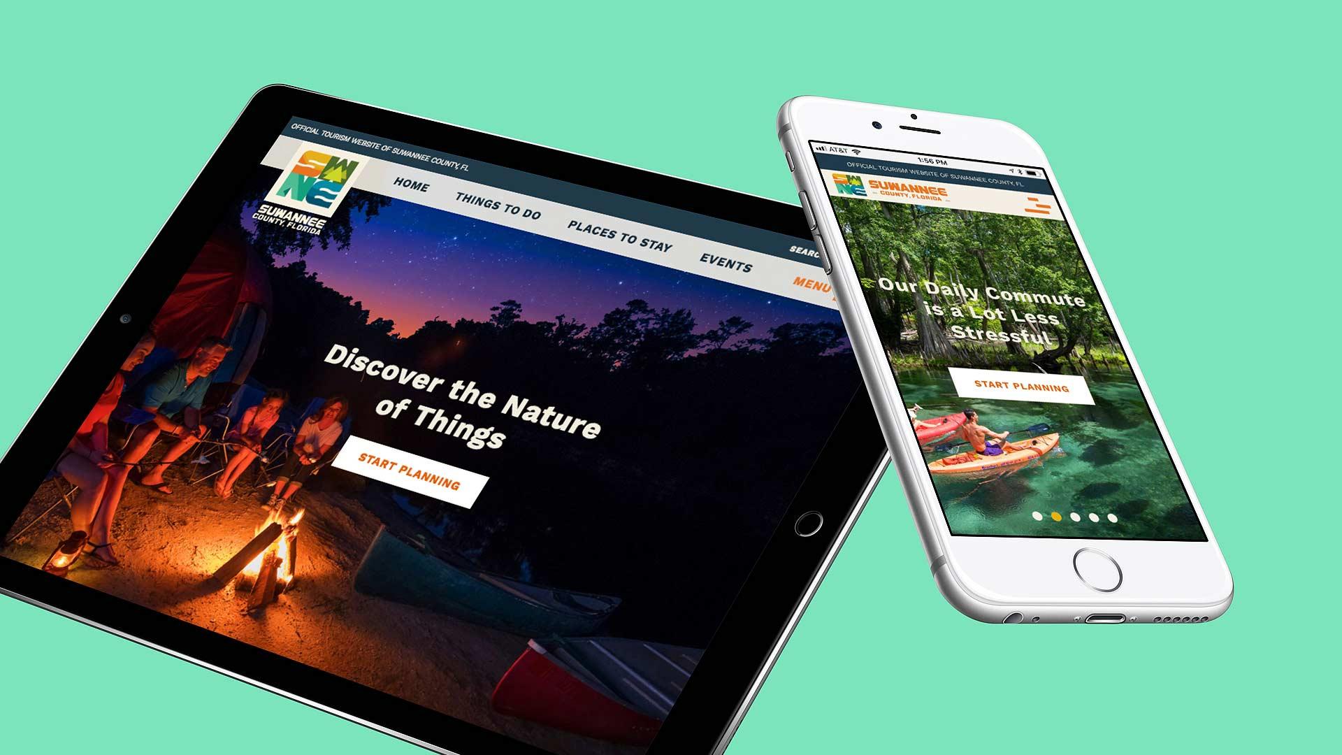 iPhone and iPad displaying Suwannee County website