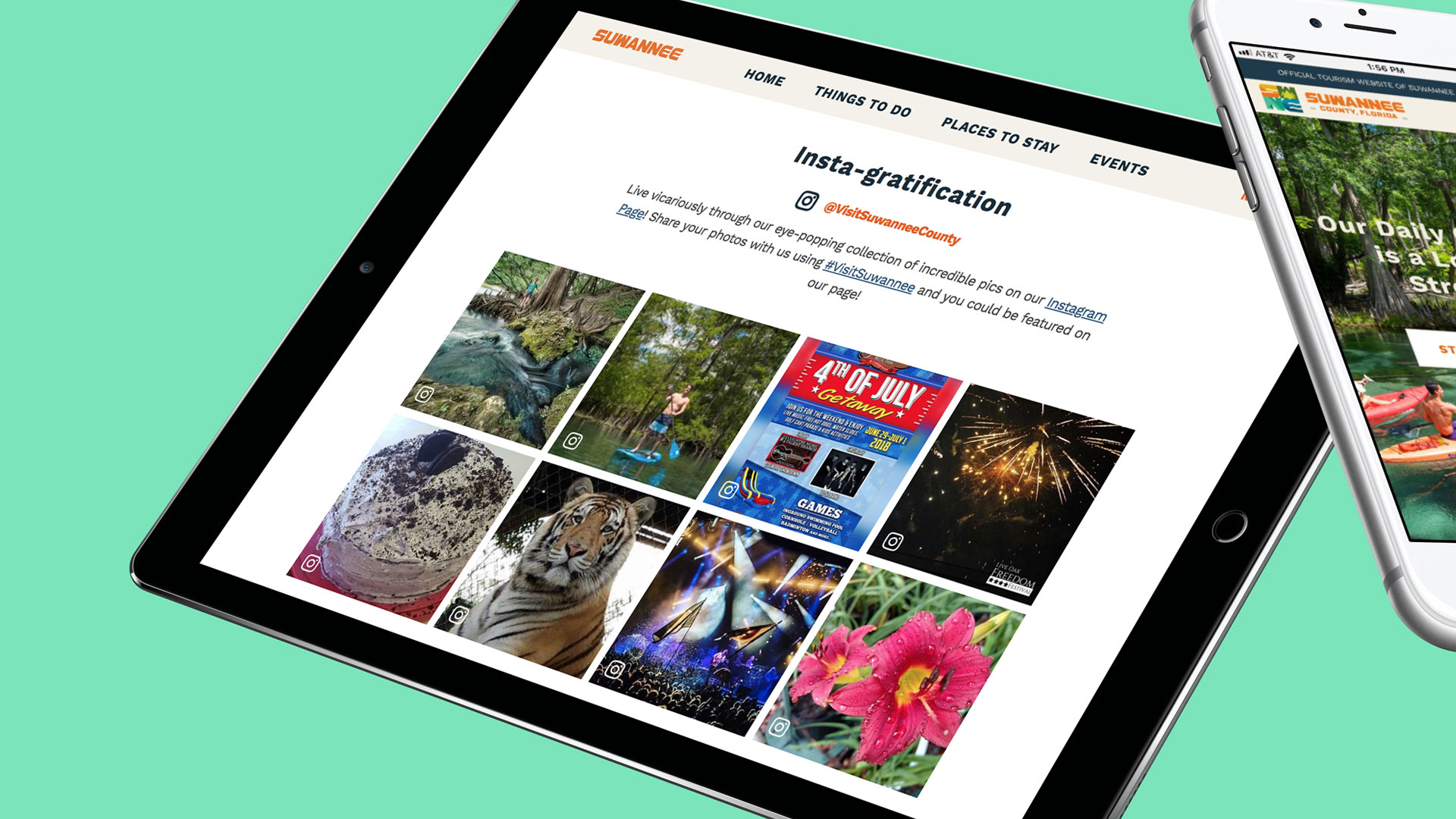 Devices showing Suwannee County Instagram page and website