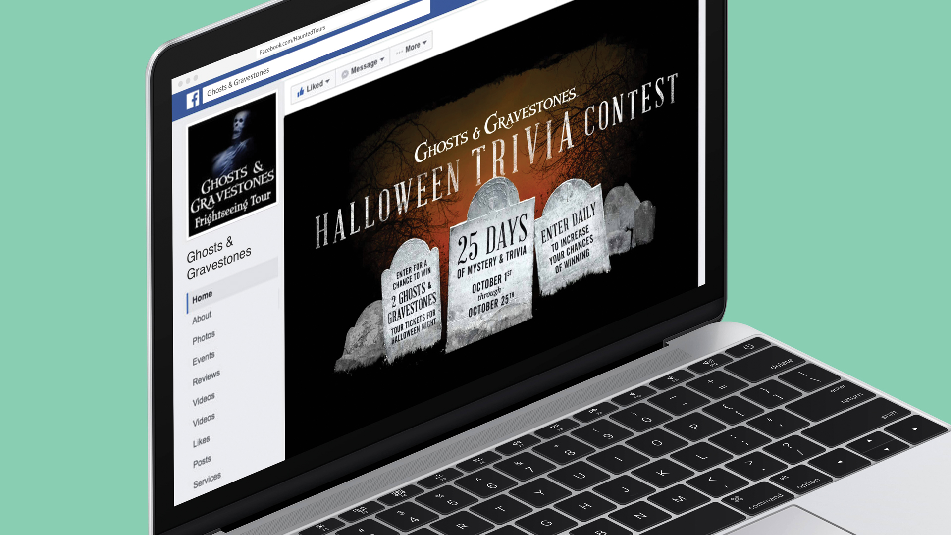 laptop screen showing halloween trivia contest page