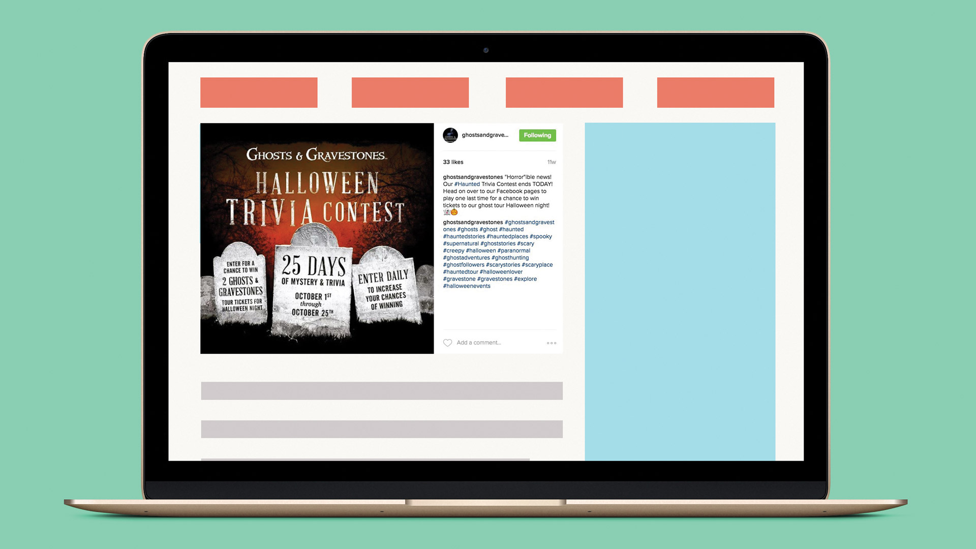 desktop screen showing halloween trivia social media post