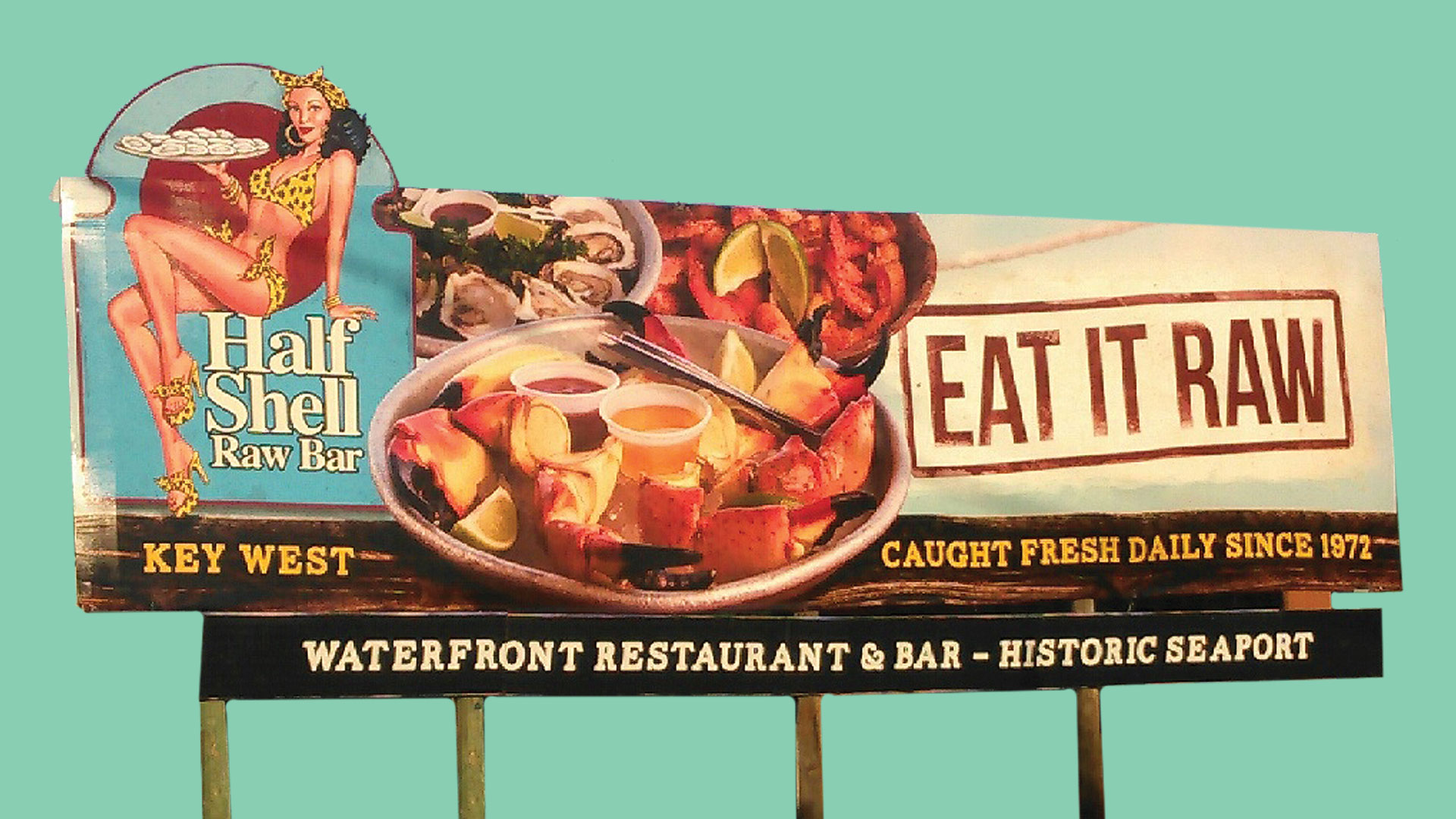 picture of pat croce half shell raw bar billboard showing seafood