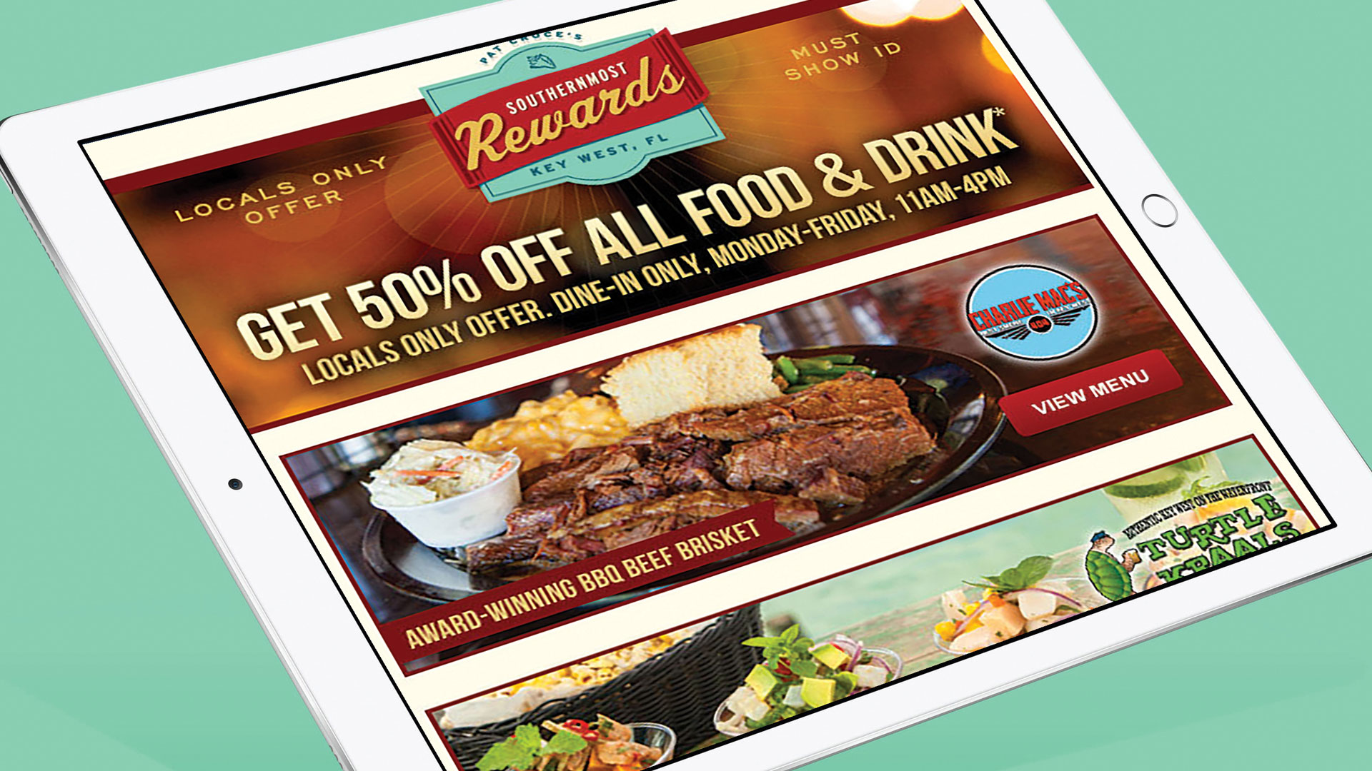 picture of tablet showing pat croce restaurants southernmost rewards program email
