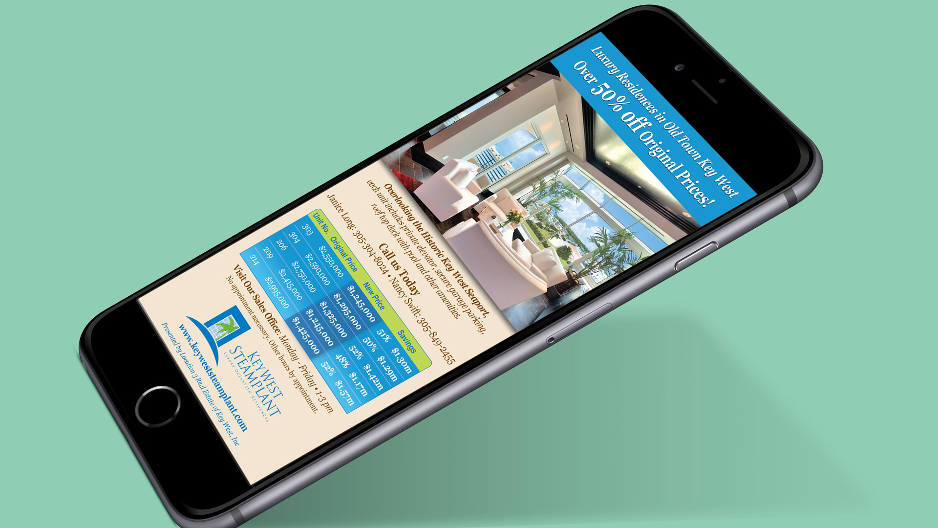 Mobile phone showing the words 'luxury residents in Old Town Key West over 50% off original prices' at the top, living room picture underneath, chart with prices, and key west steam plant logo and website address at bottom.
