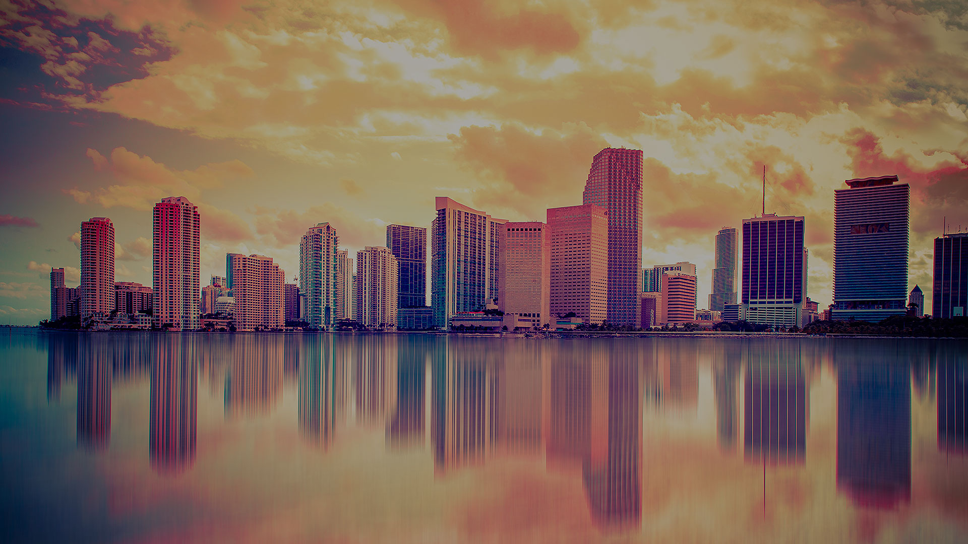 picture of miami skyline at sunset