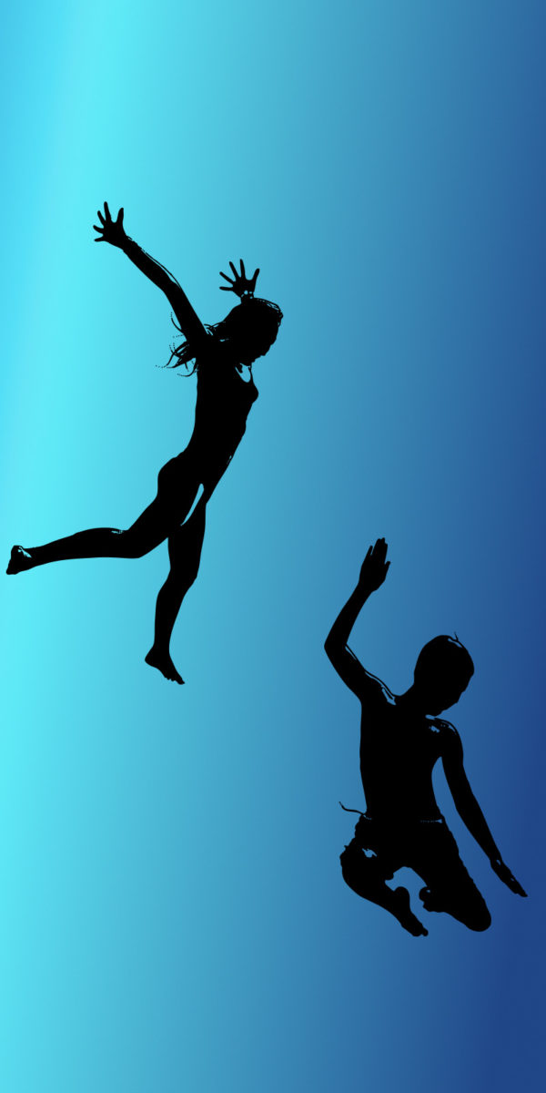 Silhouette of two kids jumping with gradient blue background