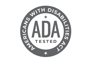 round logo with the words 'ADA TESTED' in the middle and the words 'Americans with Disabilities Act' written around circle