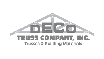 logo with an illustration of a truss and the words 'DECO TRUSS COMPANY, INC. Trusses and Building Materials'