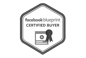 hexagon shape logo with the words 'facebook blueprint certified buyer' and a checkmark symbol with three lines
