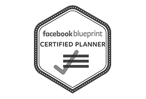 hexagon shape logo with the words 'facebook blueprint certified planner' and a checkmark symbol with three lines