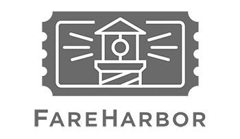 logo with a symbol of the top of a lighthouse and the words 'FAREHARBOR'