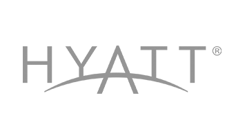 logo with the word 'Hyatt' and the top of a circle outline going across word