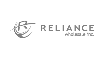logo that reads 'RELIANCE Wholesale inc.' and to the left, a round symbol with the letter R