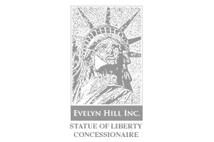 logo with an illustration of the top part of the statue of liberty showing lady liberty wearing a crown and the words 'Evelyn Hill Inc.' and underneath, the words 'STATUE OF LIBERTY CONCESSIONAIRE'