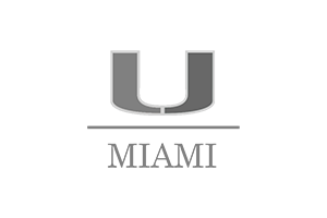 University of Miami logo made up of a 'U', a horizontal line, and the word 'MIAMI'