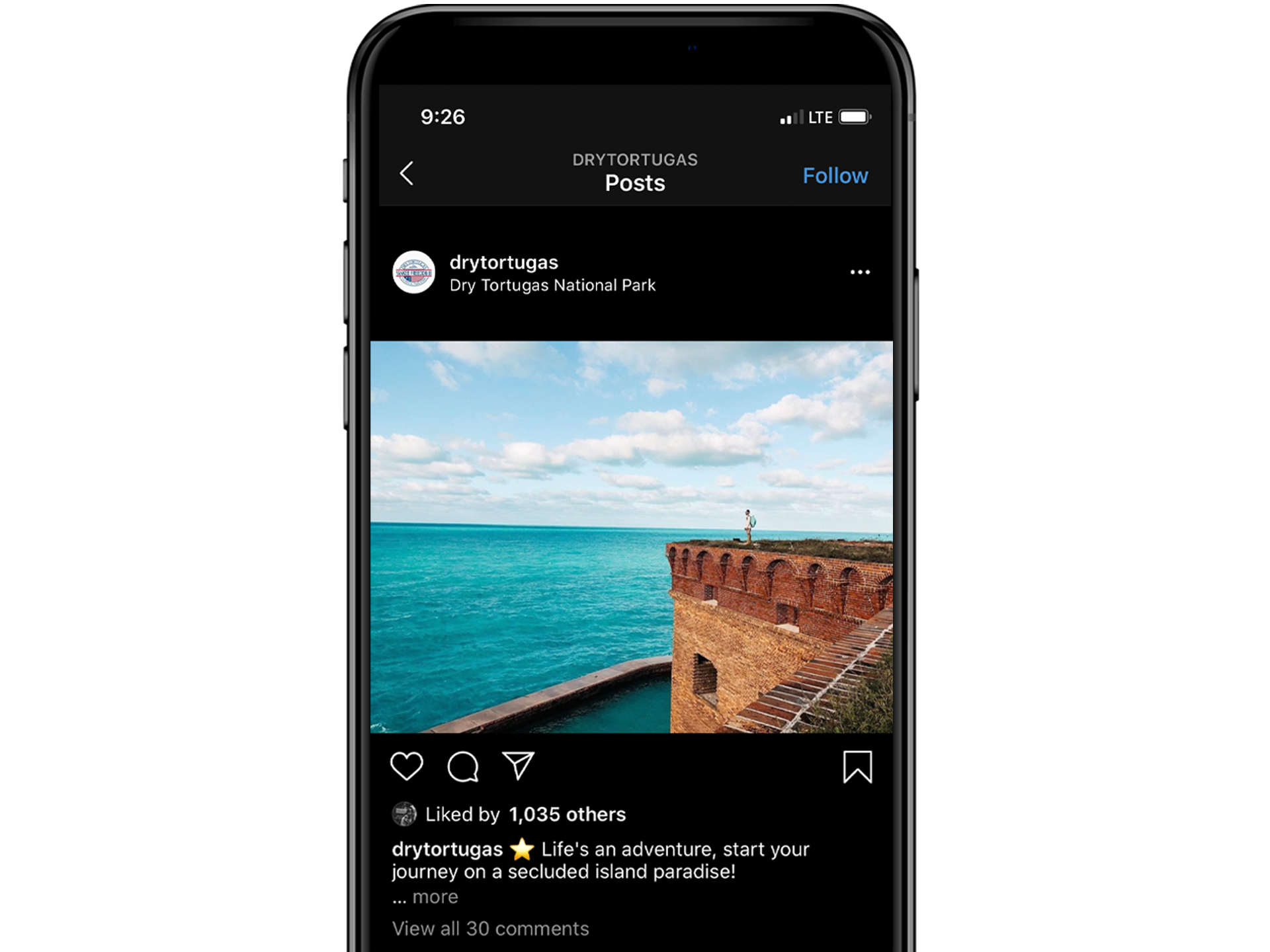 iPhone showing Dry Tortugas Instagram post