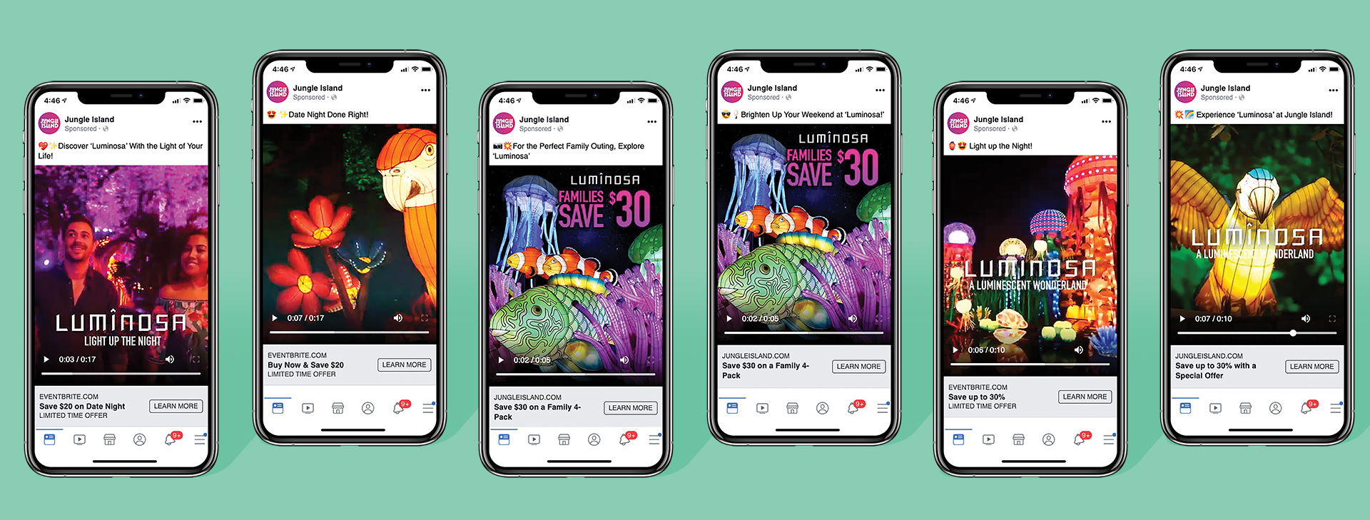 six phones in a row showing Jungle Island Luminosa campaign on Facebook