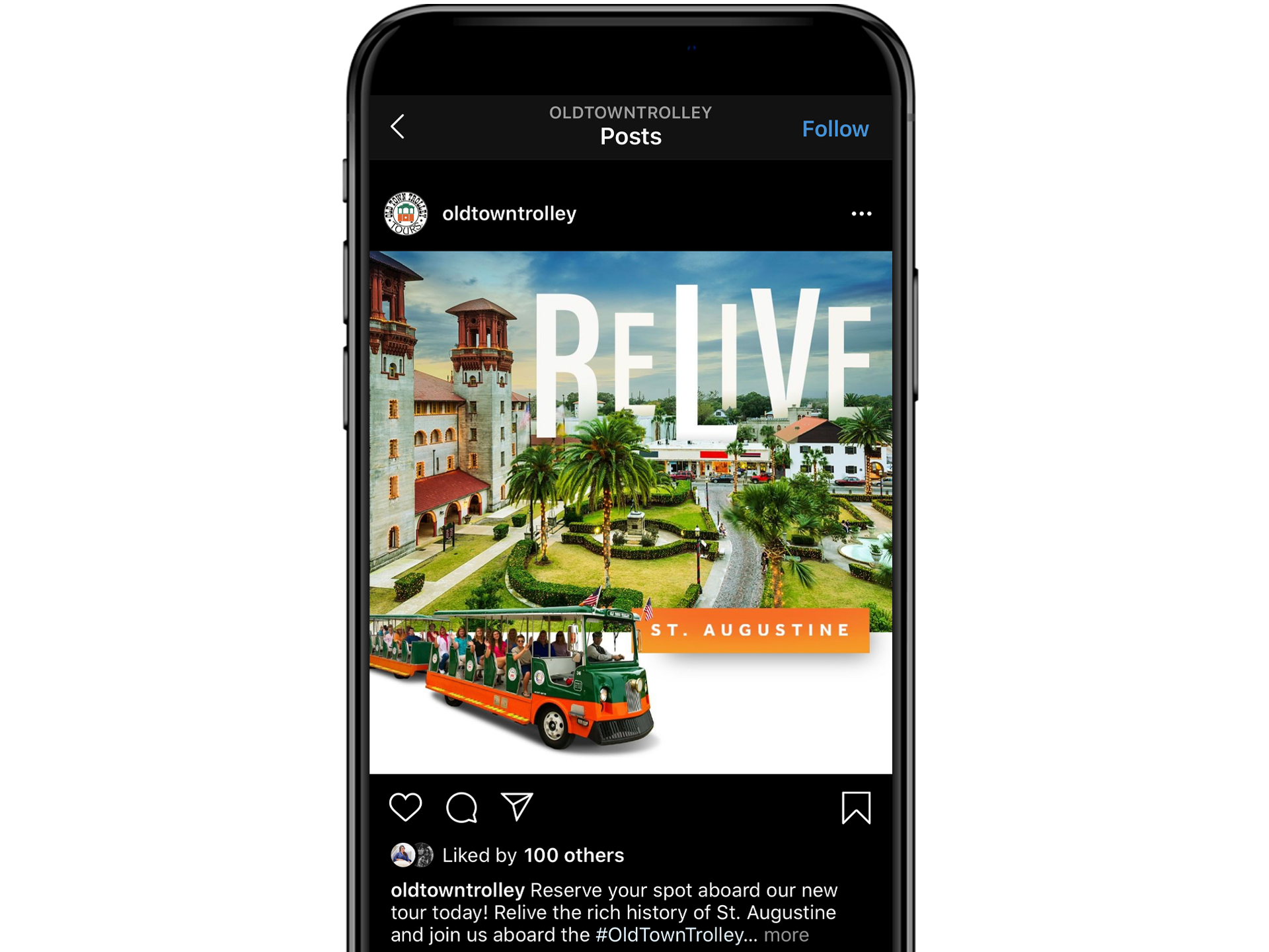 iPhone showing Old Town Trolley Instagram post
