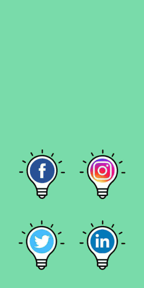 Social media icons inside light bulbs
