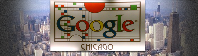 Collage of Google Chicago Sign and Cityscape