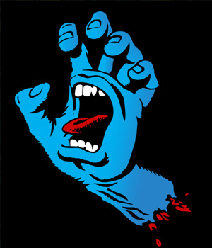 photo of the screaming hand logo by jim phillips
